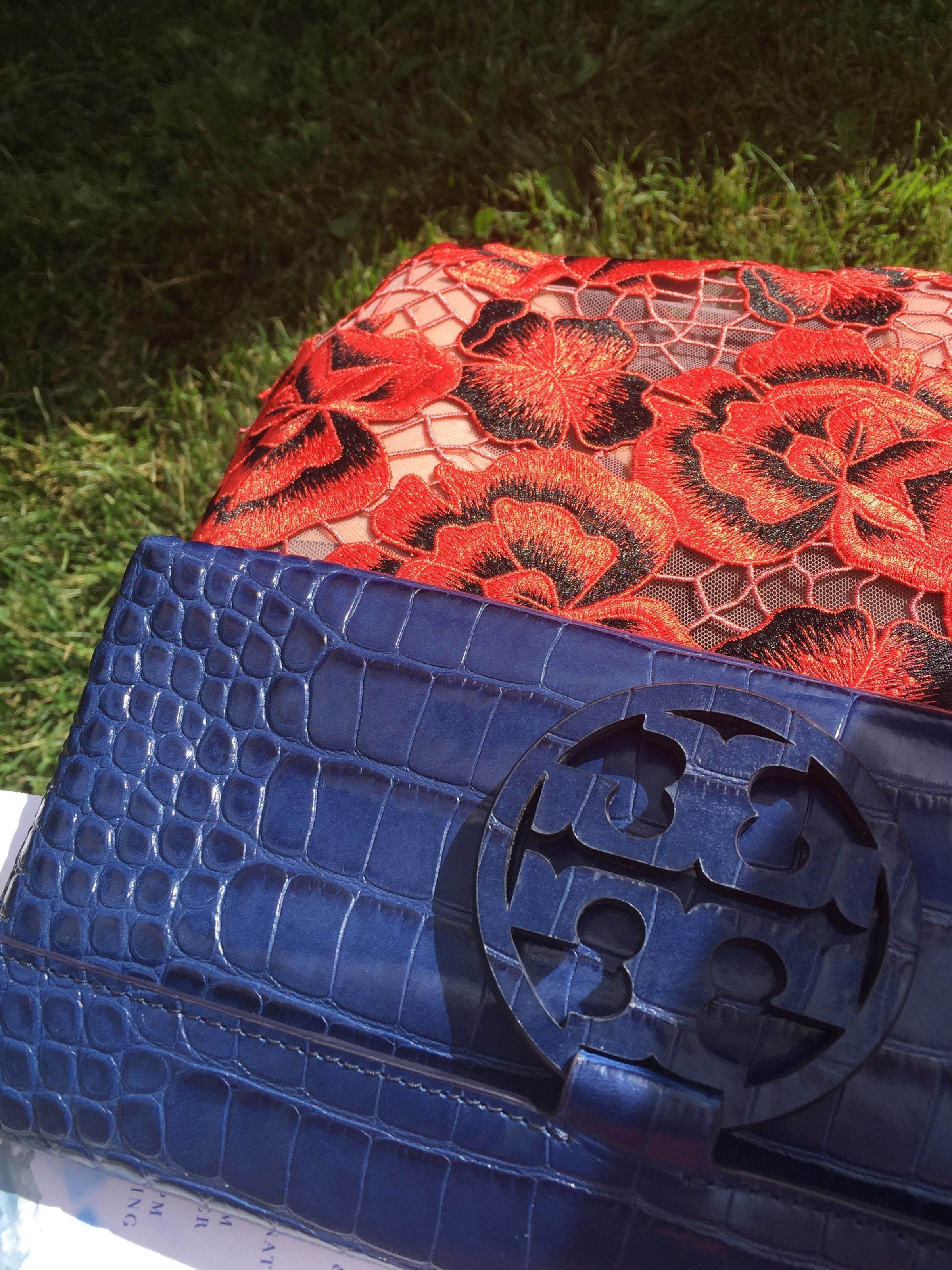 6cb72d50bf4 Navy Miller Embossed Clutch by Tory Burch Accessories for  45
