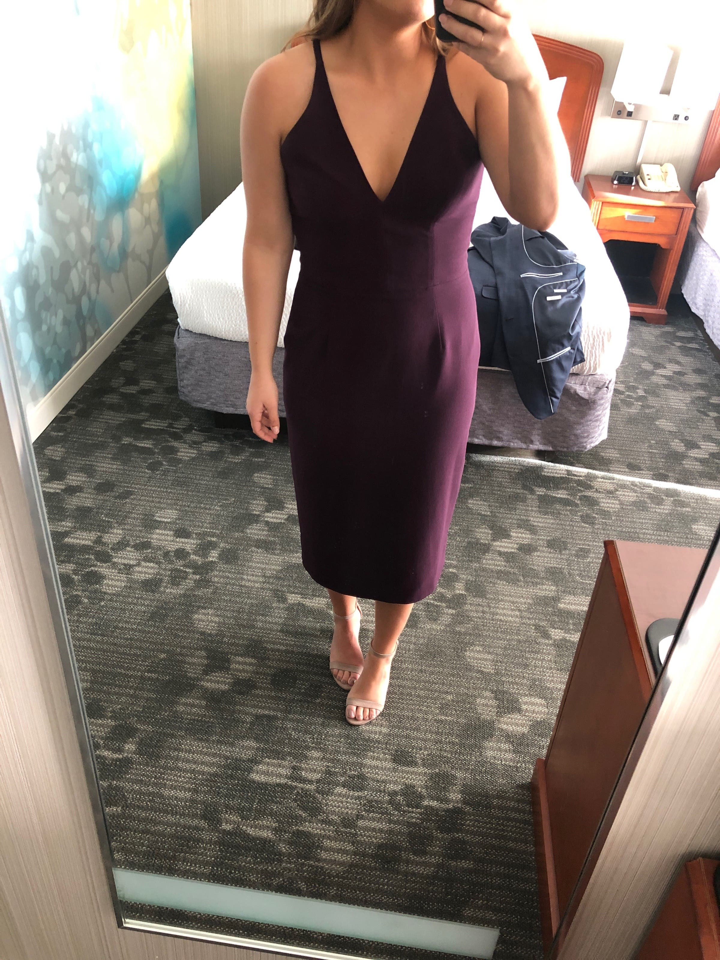 5968b897 Plum Lyla Sheath by Dress The Population for $30   Rent the Runway