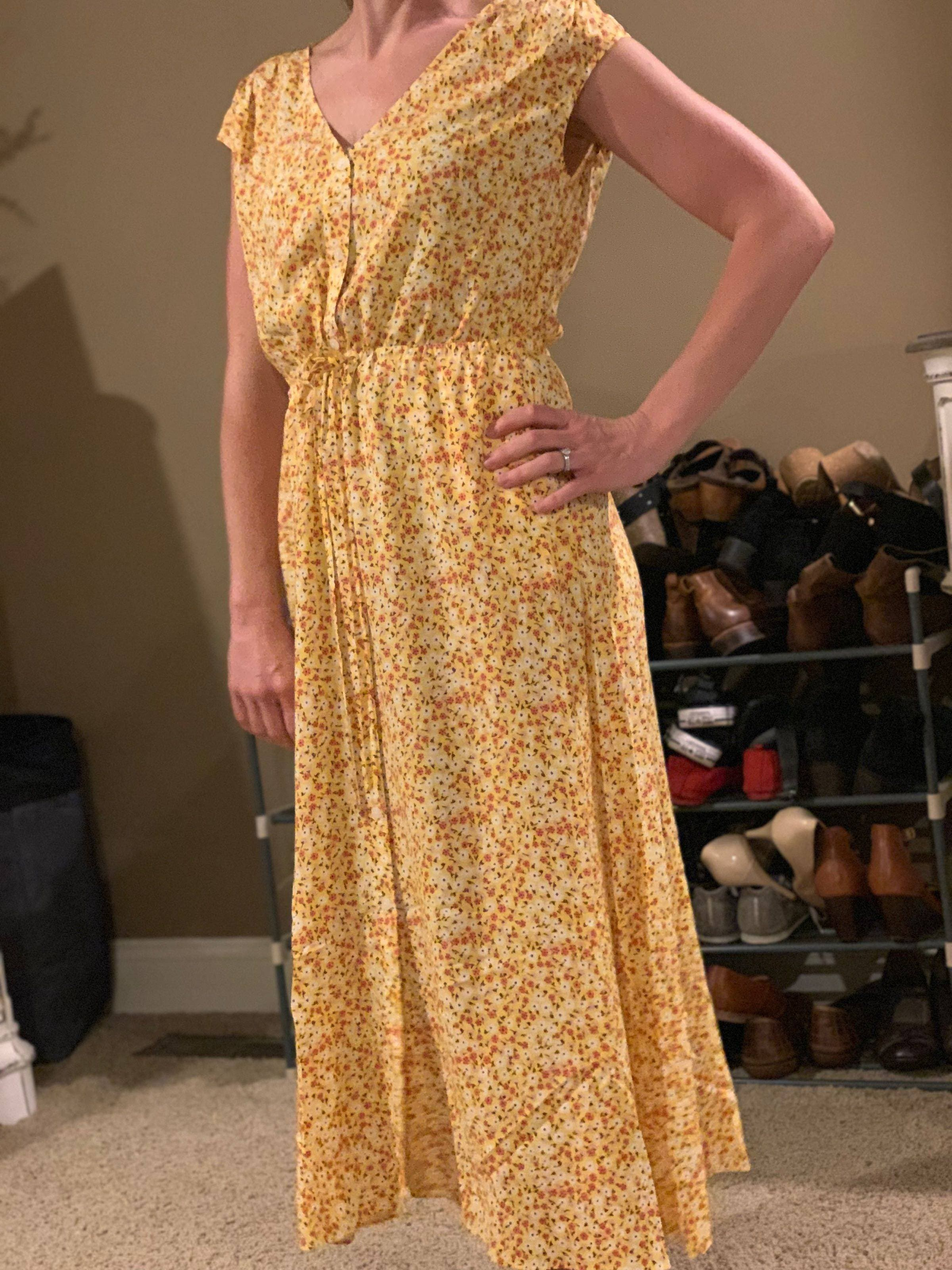 f1ef792cd61ab Yellow Floral Midi Dress by Draper James for $30 | Rent the Runway